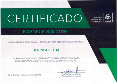 Certificado Cenibra de Qualidade e Meio Ambiente