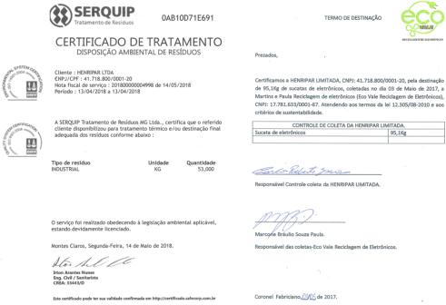 Certificados de Destinação e Tratamento de Resíduos